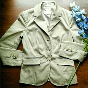 Tan petite stretch fitted 3 button blazer jacket